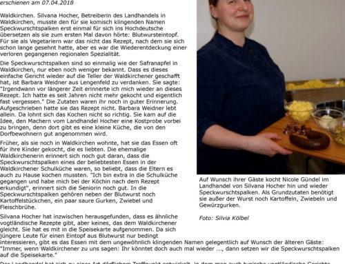07.04.2018 Freie Presse – Landhandel – Traditionsgericht vor Vergessen gerettet