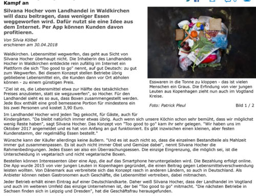 30.04.2018 Freie Presse – Landhandel – Händlerin sagt Vergeudung von Lebensmitteln den Kampf an